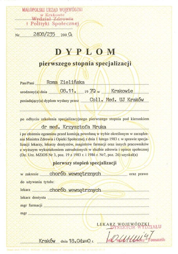 dyplom pierwszego stopnia specjalizacji