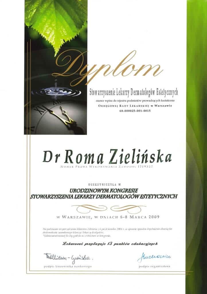 dyplom uczestnictwa wkongresie