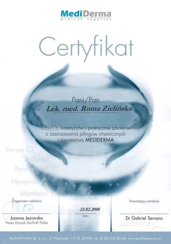 certyfikat odbycia szkolenia