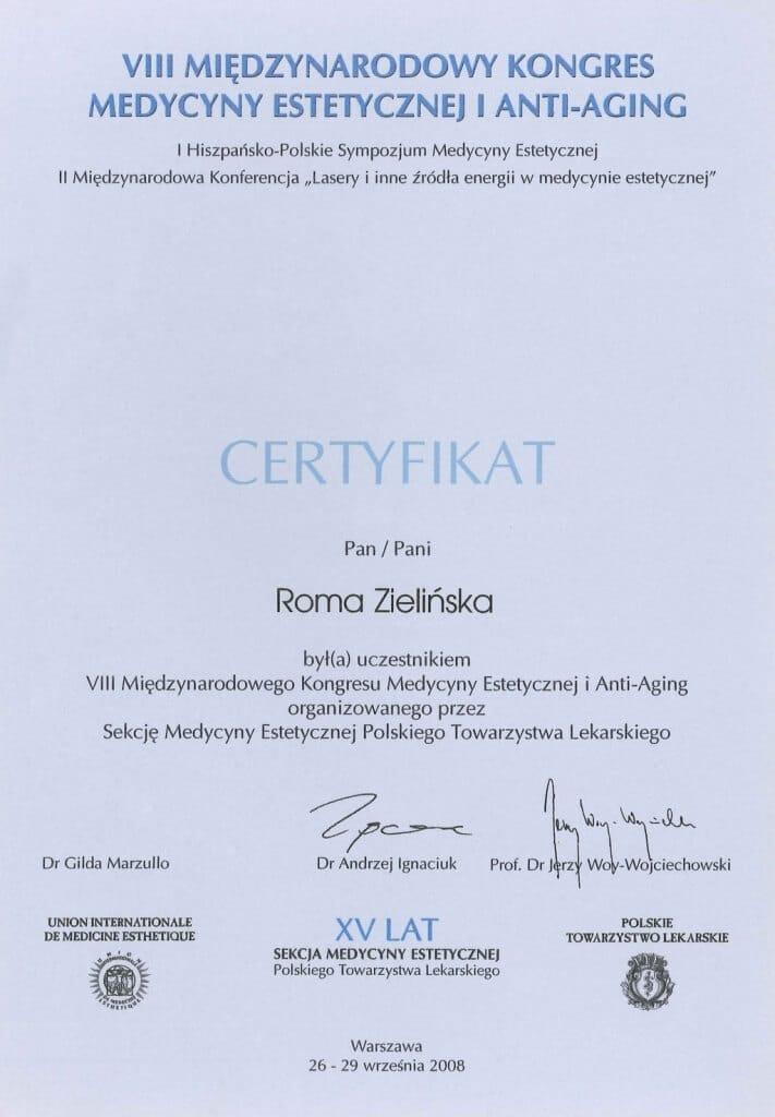 certyfikat uczestnictwa wkongresie