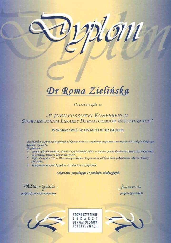dyplom uczestnictwa wkonferencji