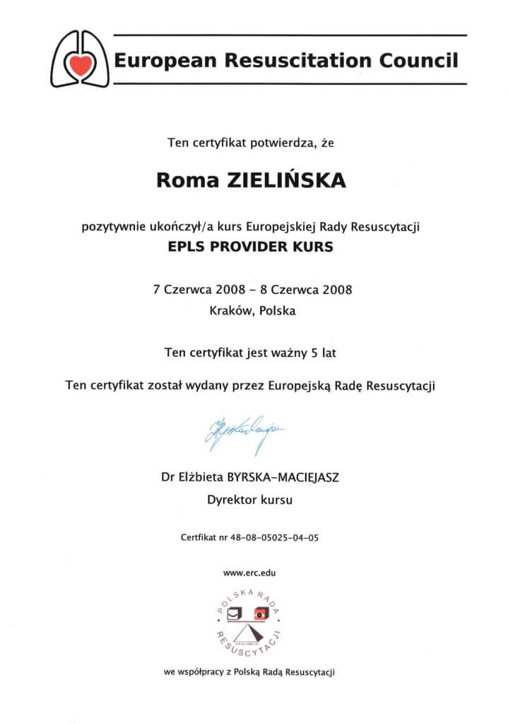 certyfikat ukończenia kursu