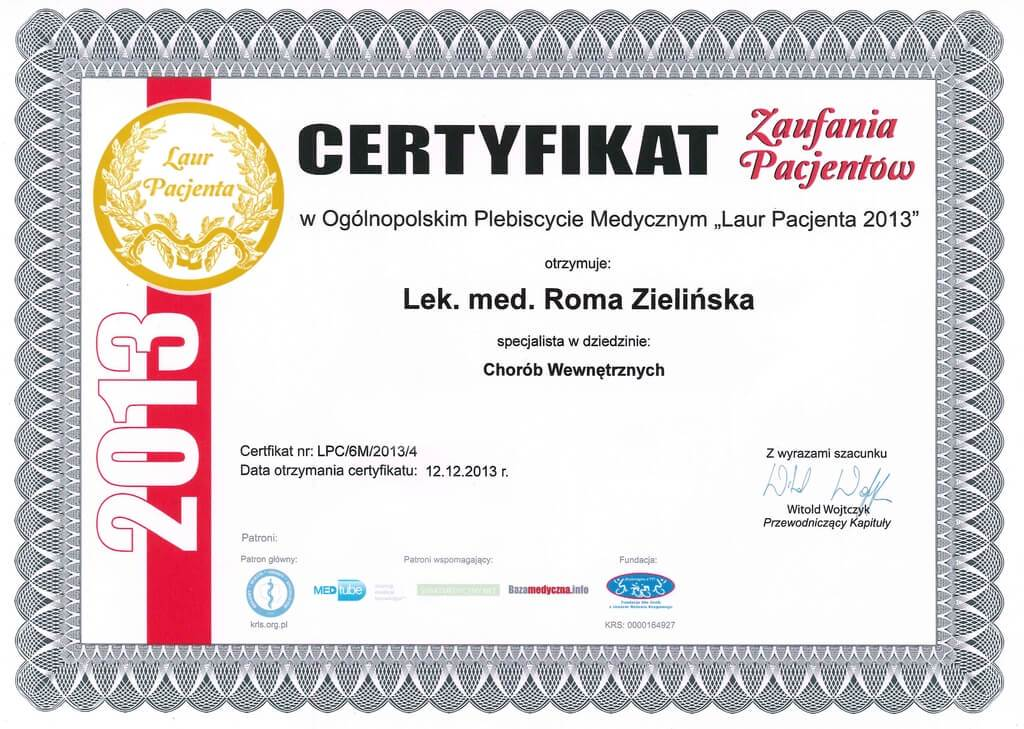 certyfikat zaufania pacjentów
