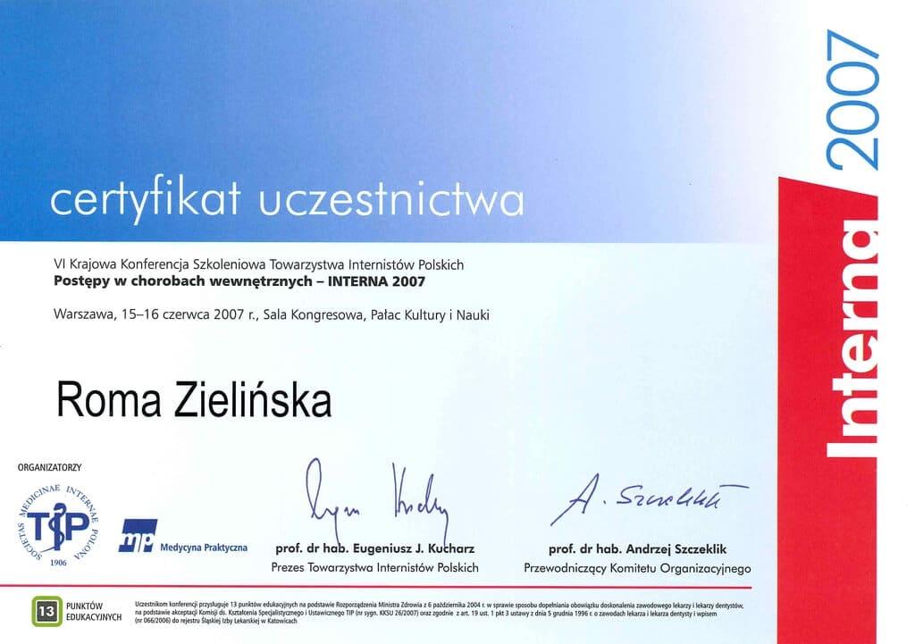 certyfikat uczestnictwa wkonferencji