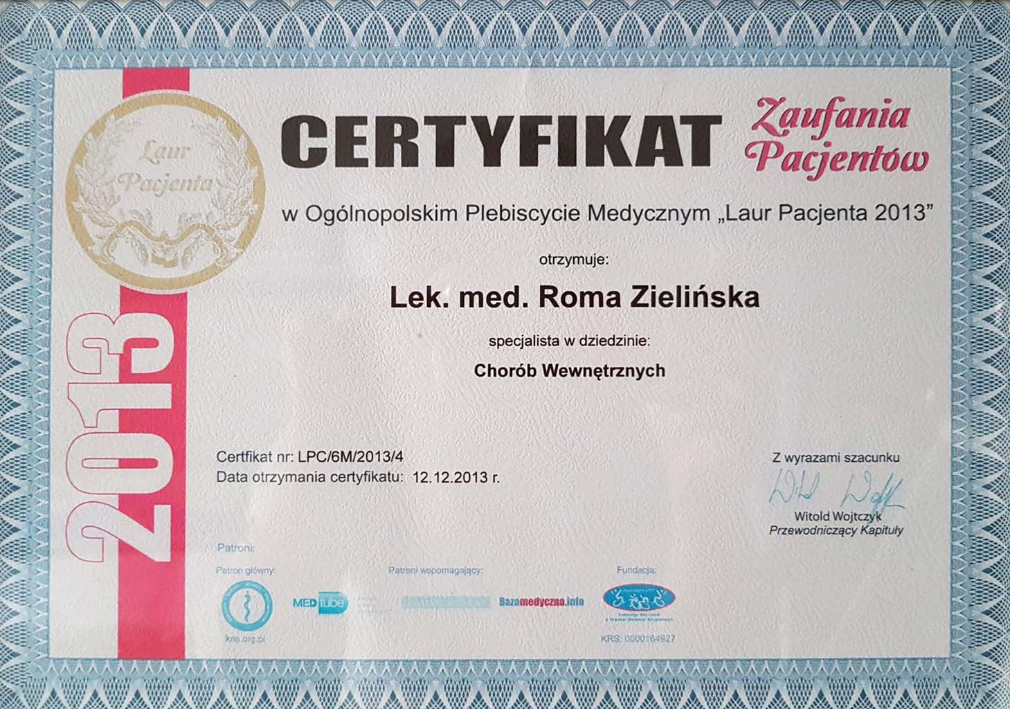 Certyfikat Laur pacjenta wklinice Magnopere wKrakowie