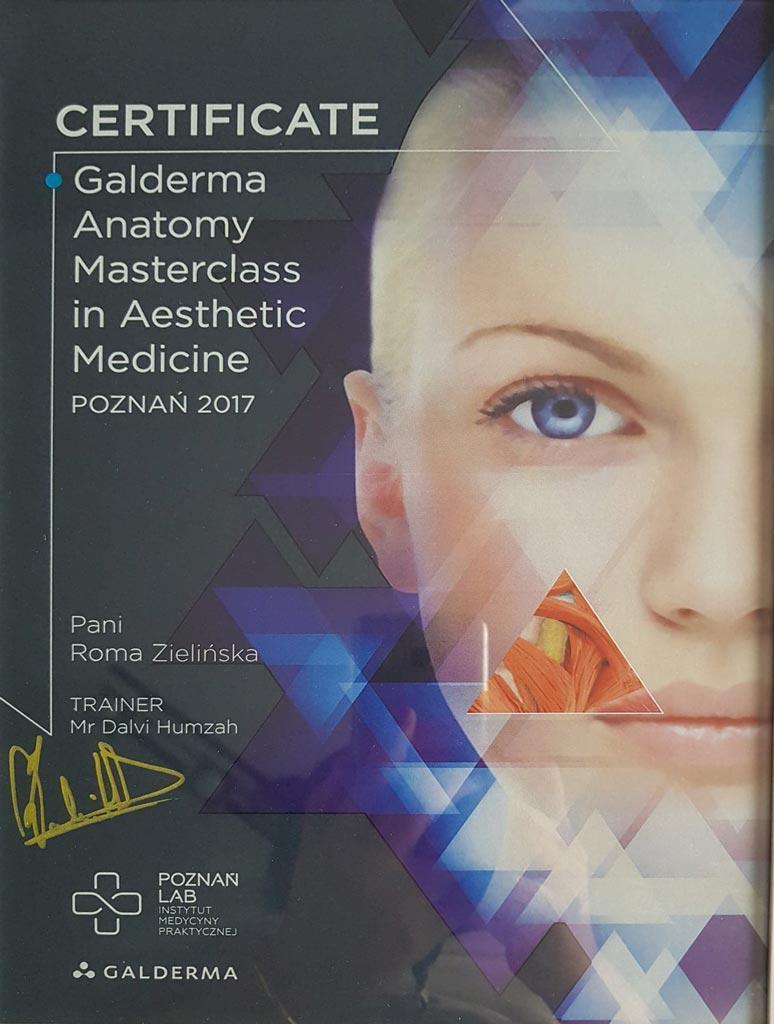 Certyfikat Galderma wklinice Magnopere wKrakowie