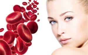 twarz kobiety i płytki krwi